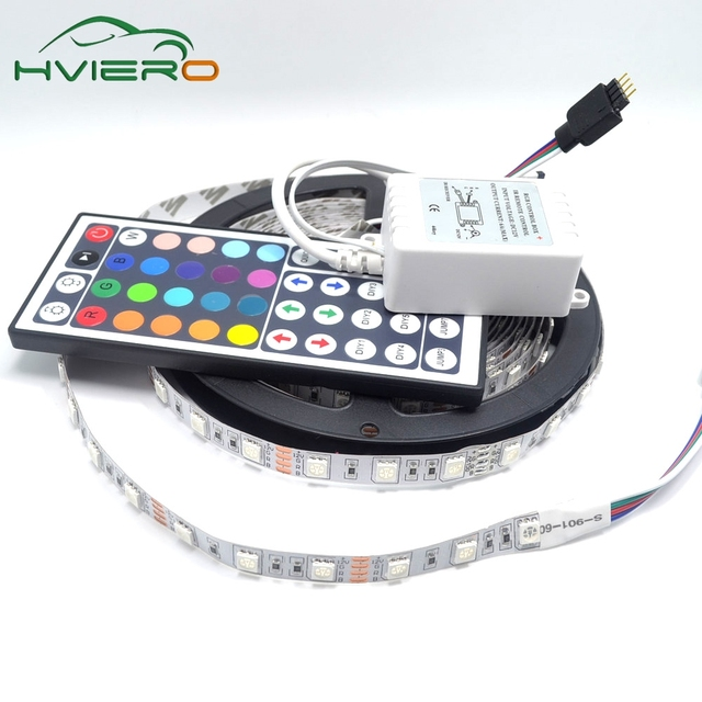 5M 300Leds RGB LED Strip 5050 Non-waterproof waterproof 60led/m Flexible LED Light  DC 12V 44Key IR Remote Controller