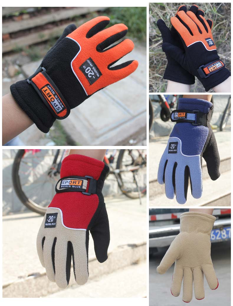 GLV948 Autumn and winter keep warm fleece font b gloves b font long finger riding mountain