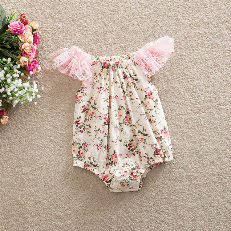 a0eac4cae Instock Baby Girl Bodysuits Resale Summer Summer Floral Print Lace ...