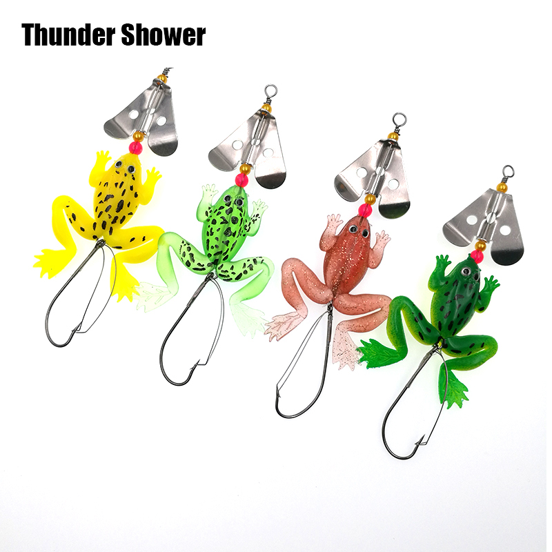 4pcs/lot Frogs Fishing Lure Set Rubber Soft Bait 9cm 6.2g Bass SpinnerBait Spoon Lures Carp Fishing Tackle Good Quality