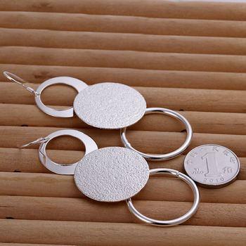 Silver color creative for women lady charms cute wedding fashion Double circle earrings Circular shape silver earrings E012 1
