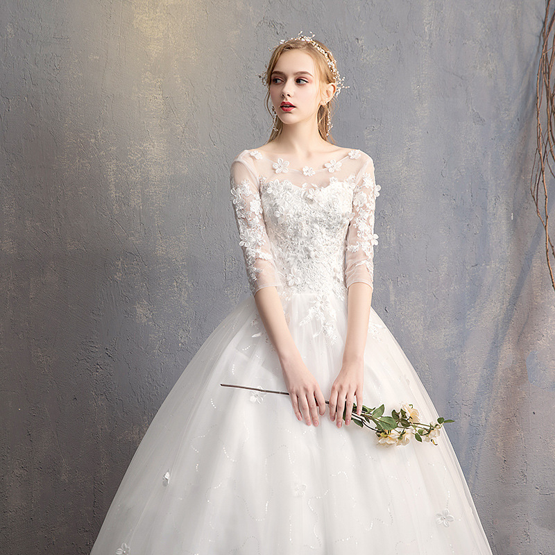 Image 4 - Do Dower 2019 New O Neck Three Quarter Wedding Dress Princess Flower Beading Lace Up Floor Length Wedding Gown Robe De Mariee L-in Wedding Dresses from Weddings & Events