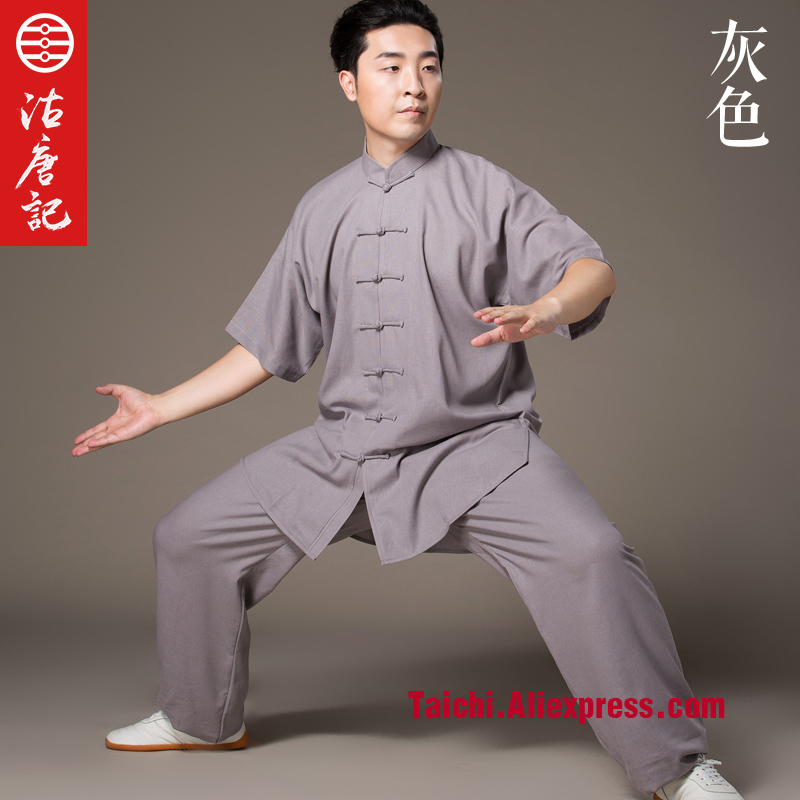 Flax Tai Chi uniform Taiji Performance Clothing Half Sleeve Summer linen Short Sleeve Kung Fu Suit