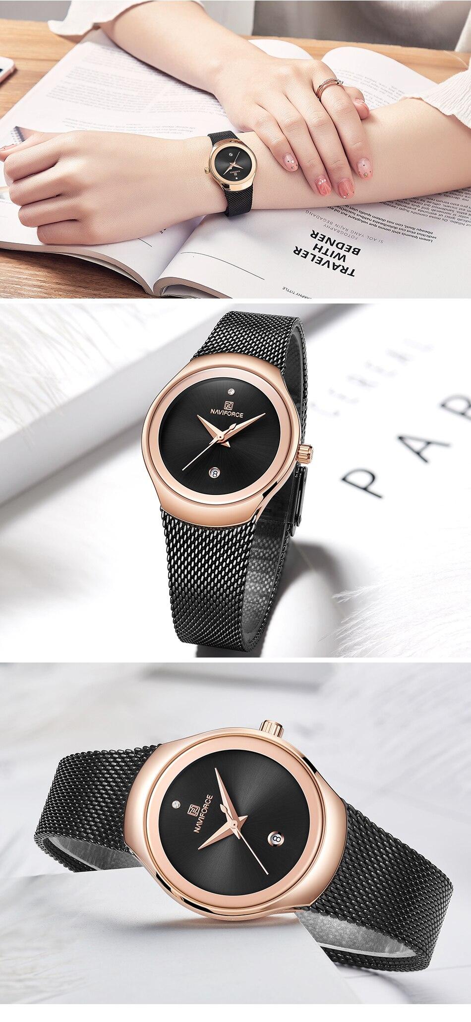 NAVIFORCE Top Luxury Brand Women Watches Female Fashion Simple Quartz Watch Ladies Classic Stainless Steel Mesh Belt Wrist Watch 12