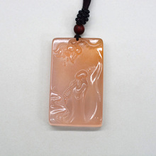 Natural Chalcedony Lotus Buddha Pendant Necklace Drop Shipping Hand-carved Lucky Amulet Lovers For Men And Women