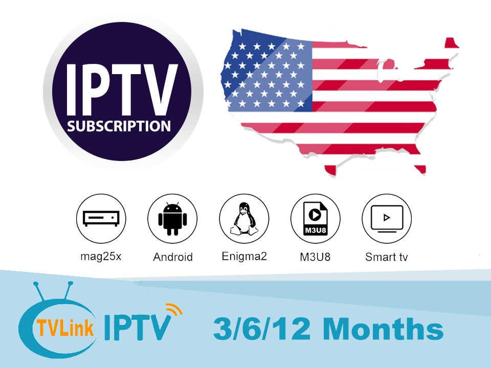 IP США ТВ с ТВ ссылка 3/6/12 месяцев IP ТВ подписка французский USA Canada спортивные M3U8 код IPTV для Android mag box Smart ТВ
