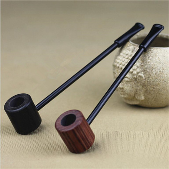 Ebony Wood Pipe Smoking Pipes Portable Smoking Pipe Herb Tobacco Pipes Grinder Smoke Gifts Black/Coffee 2 Colors 1