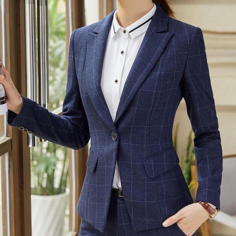 Naviu mode vrouwen tweedelige outfits formele Bedrijvengids lange mouwen slim blazer en broek office dames plus size werkkleding-in Broekpak van Dames Kleding op  Groep 3