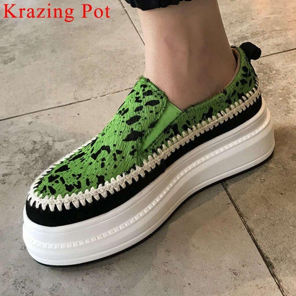 Ayakk.'ten Vulkanize Kadın Ayakkabıları'de Krazing Pot el yapımı lüks at kılı med alt düz platformu karışık renkler loafer'lar üzerinde kayma rahat vulkanize ayakkabı L33'da  Grup 1