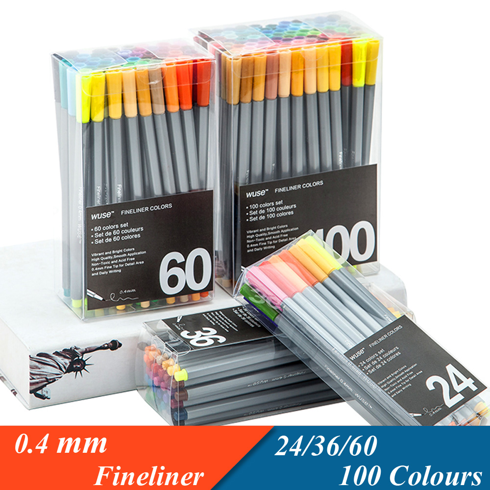 0.4mm Fineliner Marker Pen 24 36 60 100 Colors Water Based Assorted Ink Art Markers No-tox Material Drawing Graffiti Hook Fiber 0 4 mm 24 colors fineliner pens marco super fine draw not stabilo point 88 marker pen water based assorted ink no tox material