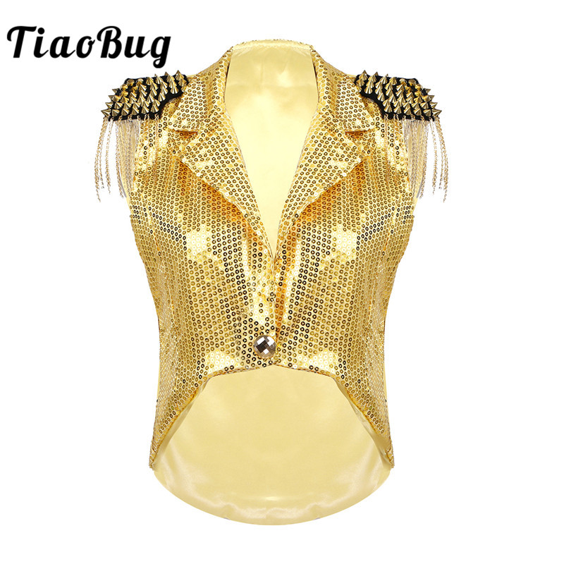 TiaoBug Women Sequins Turn-down Collar Rave Festival Tassels Vest Waistcoat Tuxedo Coat Stage Performance Jazz Dance Costumes
