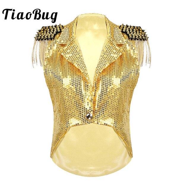 Женский жилет с блестками и воротником TiaoBug, праздничный жилет с кисточками, смокинг, костюм для выступлений, джазовых танцев