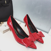 New Fashion Sweet Patent Leather High Heels Shoes Pointed Shallow Bow Autumn Ladies Low Thin Heel