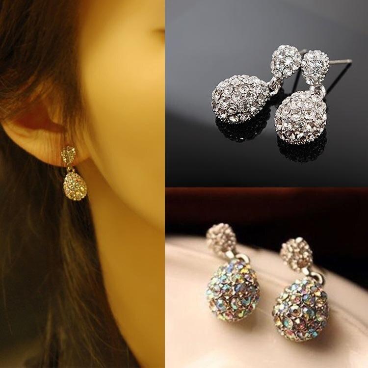 2016 New Hot Sale Fashion Cute Lady Crystal Rhinestone Studs Earrings Girls Jewelry 2 Colors Drop Shipping