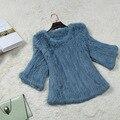 Подлинная настоящее природный женщин трикотажные пальто шерсти кролика женщин модное мех куртка все матч свитер дамы трикотажные свитера пуловеры