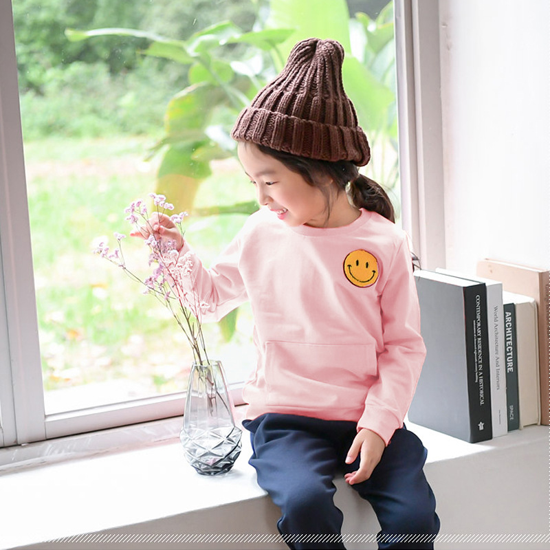 Girls and boys sweater spring new kids smiling faces of children - Baby pullovers leisure jacket tide