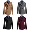 Casual Jackets Woolen Pea Coat Double Breasted Winter Wool Coat Slim Fit Jacket Windbreakers Trench Homme Plus Size