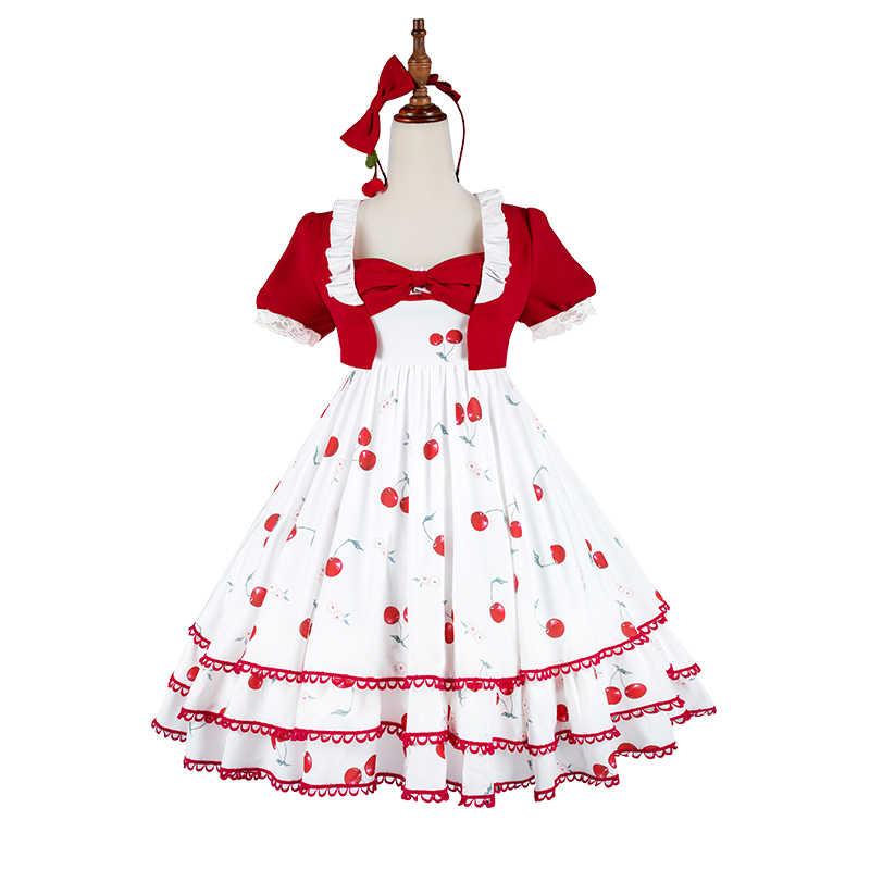 Игра Чудо Nikki Косплей Костюм вишня Подростковая Лолита платье Kawaii летнее платье