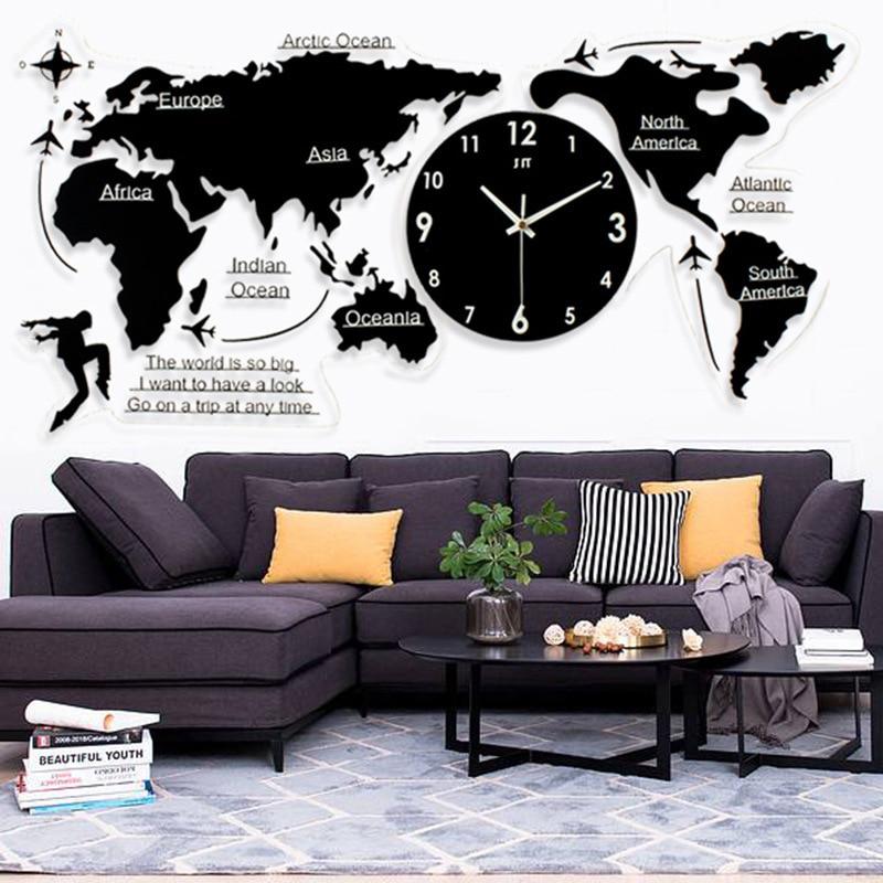 Free shipping Long lasting Nordic Simple Wall Clock Acrylic World Map Clock European style living room silent clocks wholesale