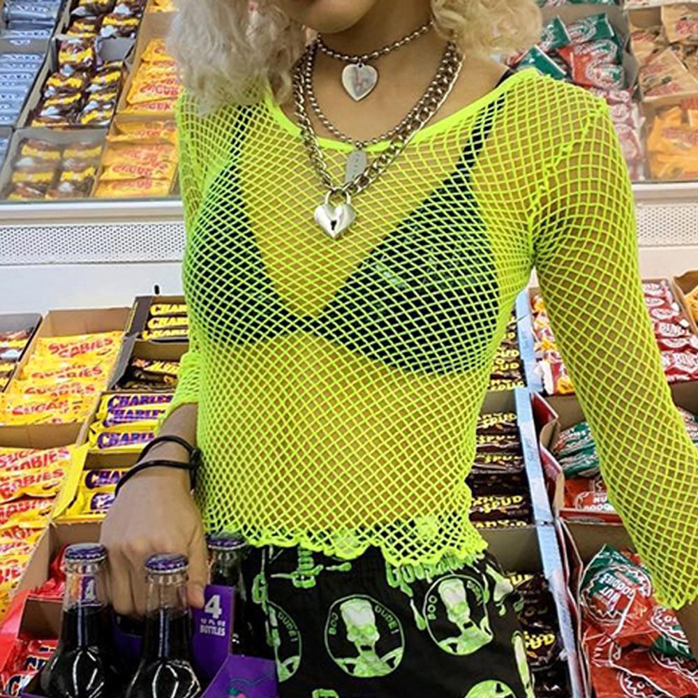 neon green hot pink mesh perspective half sleeve o-neck women t-shirt 2019 new street slim hollow out crop tops
