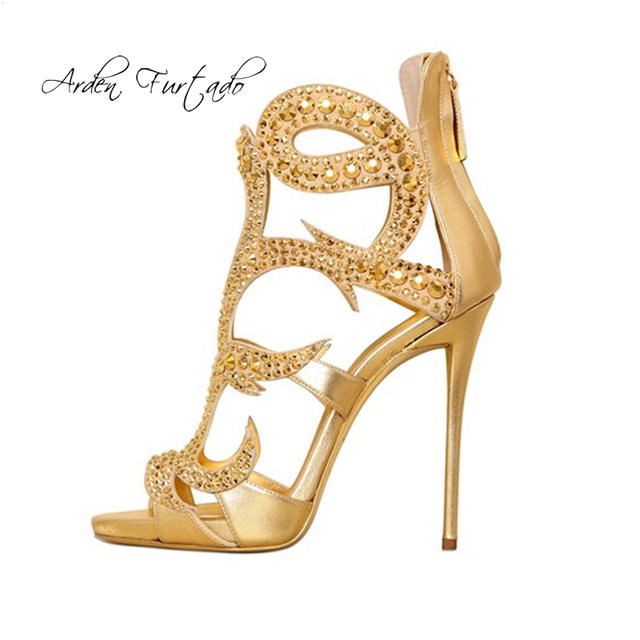 e2b7d78677898 Arden Furtado 2018 summer yellow peep toe fashion sandals gold stilettos  heels back zipper shoes women ladies crystal rhinestone