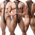 Super Especiais Dos Homens Engraçados Ouro Prata Leopard Bodysuit Mens Thongs Erotic Lingerie Sexy Underwear Thong Trajes Produtos Do Sexo