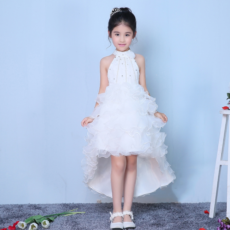 beading flower girl dresses for wedding birthday party halter sleeveless short front long back white pageant dress for girls hot sale halter beading sequins short homecoming dress