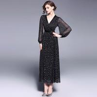 2018 Lente Zomer Lady Star Maxi Lange Jurk Zwarte Slanke Taille Mesh Vrouwen Grace Elegante V-hals Feestjurk Voor vrouwen Kleding