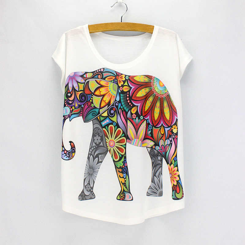 e4fbf0a1c New fashion Flower Elephant printed t shirts women summer tees 2016 novelty  design casual top tees