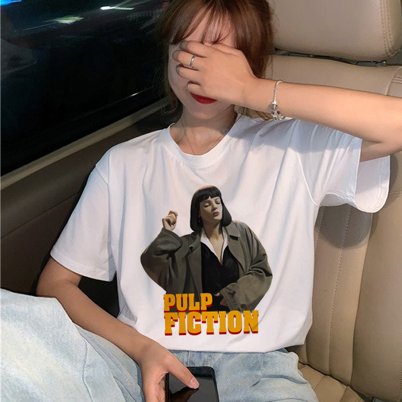 New Pulp Fiction Movie T Shirt Women Harajuku Ullzang 90s Korean T-shirt Aesthetic Funny Print Tshirt Graphic Top Tees Female 21