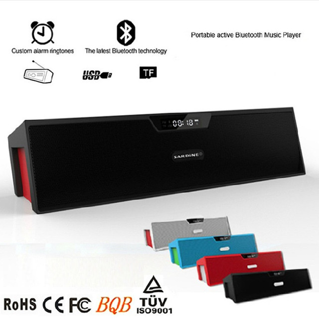 Mini Portable Sardine sdy-019 Bluetooth Speaker 10W USB HIFI Speaker Amplifier Wireless Stereo Computer FM Speaker Alarm Clock