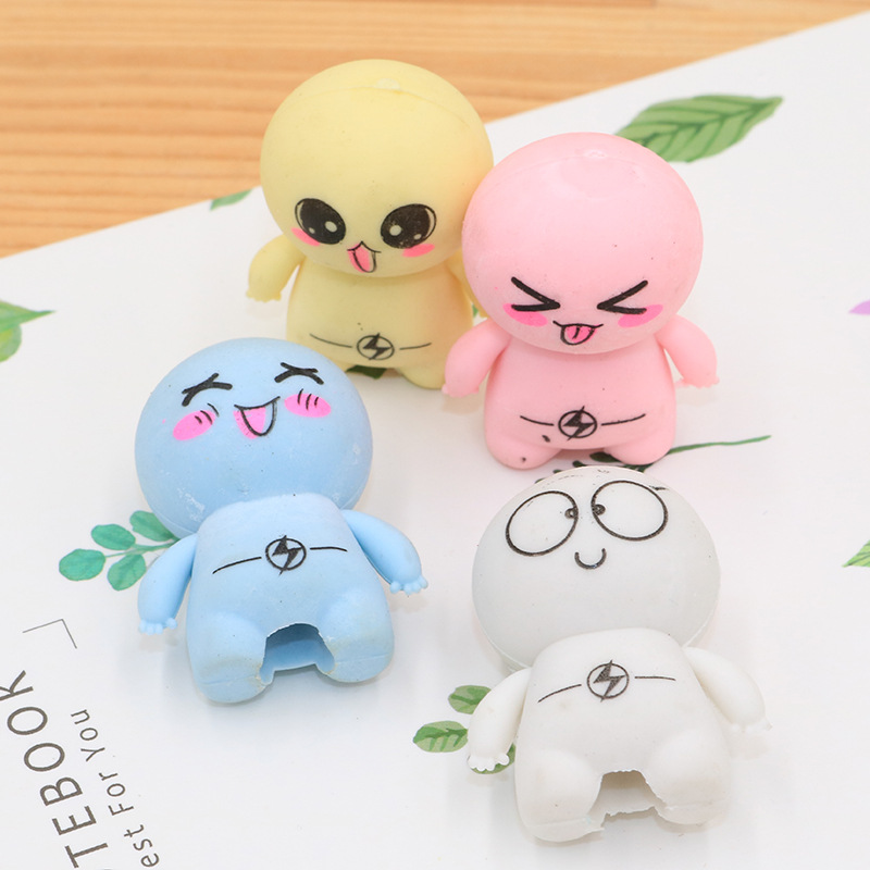 1 PCs Creative Cute Big Head Doll Character Eraser Student Stationery Eraser Wholesale Prizes For Kids