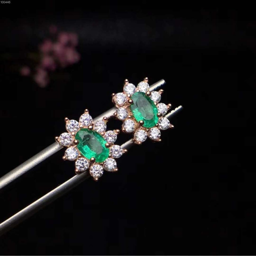 b79de1286 2019 18K Gold Plated 925 Sterling Silver Colombia Emerald Stud ...
