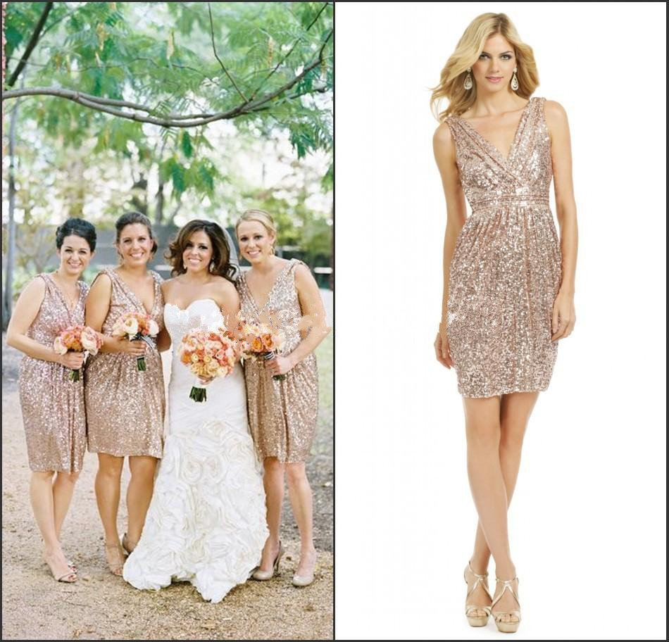 2015 short gold sequined bridesmaid dress rose gold maid for Maid of honor wedding dresses