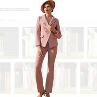 2019 Формальные Элегантные Для женщин блейзеры Костюмы брючные офисные женские Розово серый полоса плед брюки в деловом стиле костюмы для Дл