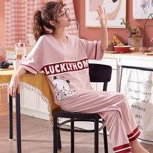 Pijamas de algodón de manga corta conjunto de dos piezas de las mujeres ropa de dormir de dibujos animados pijamas para mujeres ropa de dormir pantalones largos conjunto de regalo de las mujeres