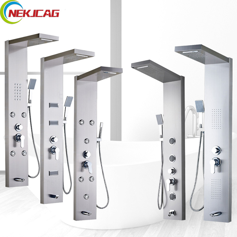 Stainless Steel Rain Waterfall Shower Panel with Massage System Faucet Wall Mounted Shower Column Jets Handshower