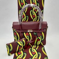 6Yards Beautiful reddish brown background and printed chain pattern hollandais wax african big handbag set for party VB36