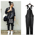 Wholesale 2015 New Fashion Tide Men vintage Trousers Casual loose plus size Black PU faux leather jumpsuit mens piece pants