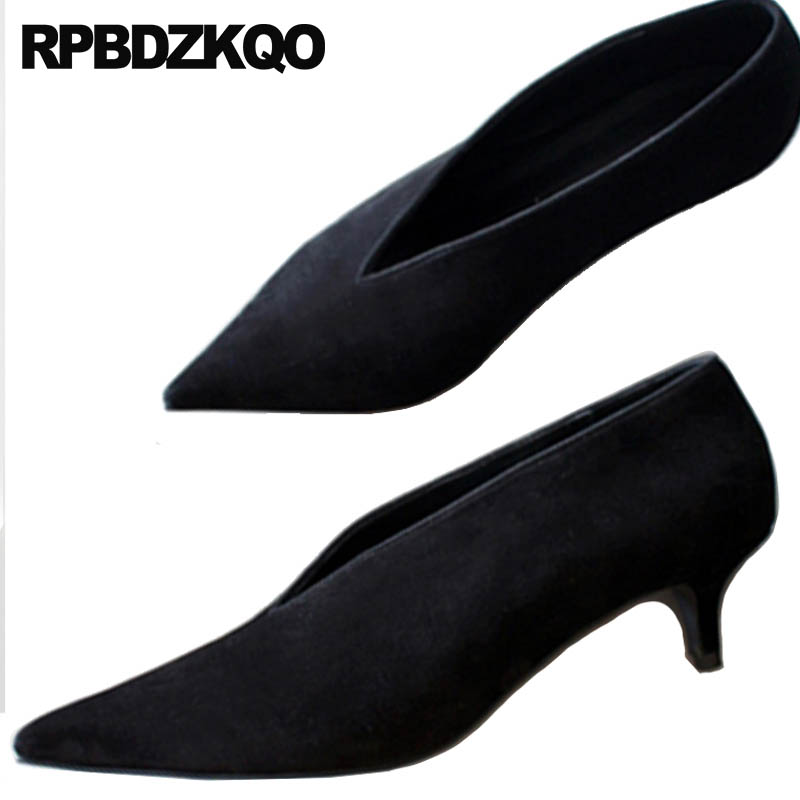 a59fac68fab Winkle Picker Big Size Leather Pumps Low Heels Thin Catwalk 33 Kitten Court Office  Shoes Black Pointed Toe Suede Women Medium