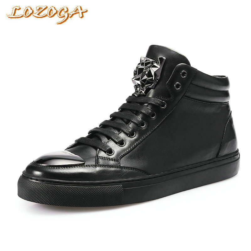 LOZOGA New font b Men b font Boots 100 Genuine Leather Handmade Luxury Designer font b