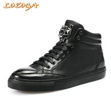 LOZOGA New Men Boots 100% Genuine Leather Handmade Luxury Designer Shoes Black Autumn Winter Fashion Metal Toe Motorcycle Boots