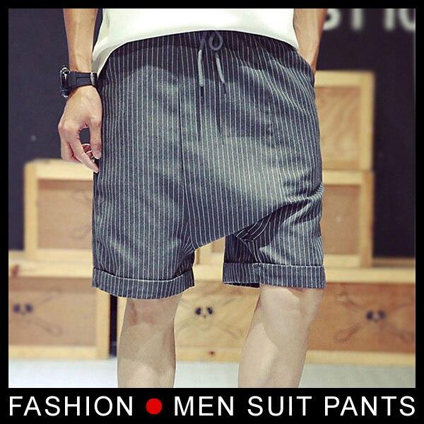 Высокое качество мужчины тонкий костюм короткие штаны красавцы бизнес брюки классические брюки западном стиле размер ml XL черный