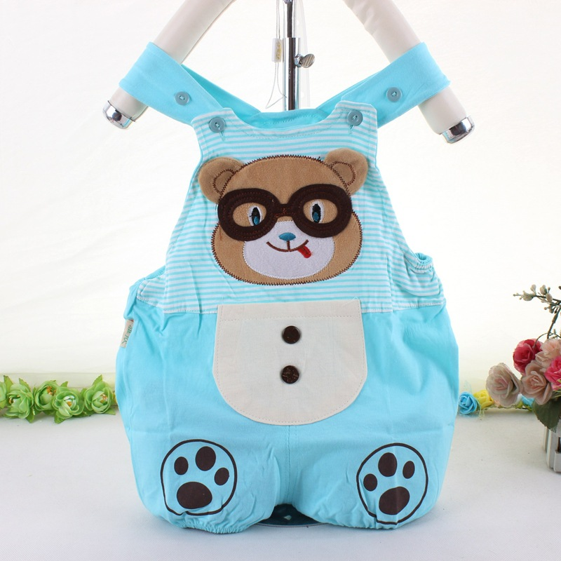 PluckyStar Cotton Baby Rompers Cute Bear Newborn Sleeveless Jumpsuit Pink Blue Boys Girls Overalls Summer Baby Clothing 6M9M P17 2 pcs lot newborn baby girls clothing set cute pink cotton baby rompers boys jumpsuit roupas de infantil overalls coveralls