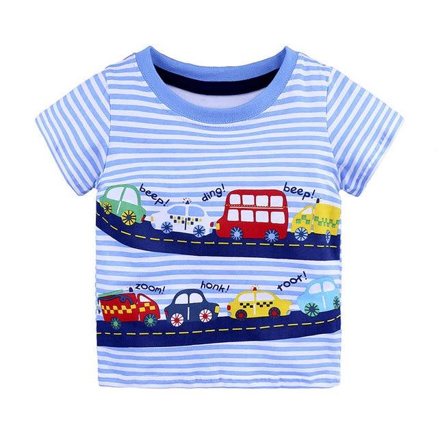1-6Y מזדמן אופנה קיץ פעוט תינוק נערי כותנה סגנון קצר שרוול O-צוואר הדפסת קריקטורה בסוודרים חולצות