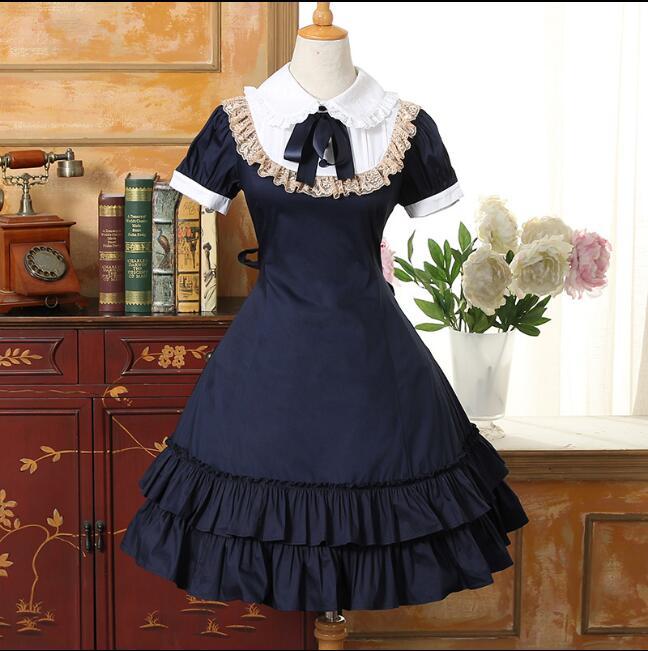 Nouveauté! robe Lolita été style japonais robe gothique à manches courtes femme robe