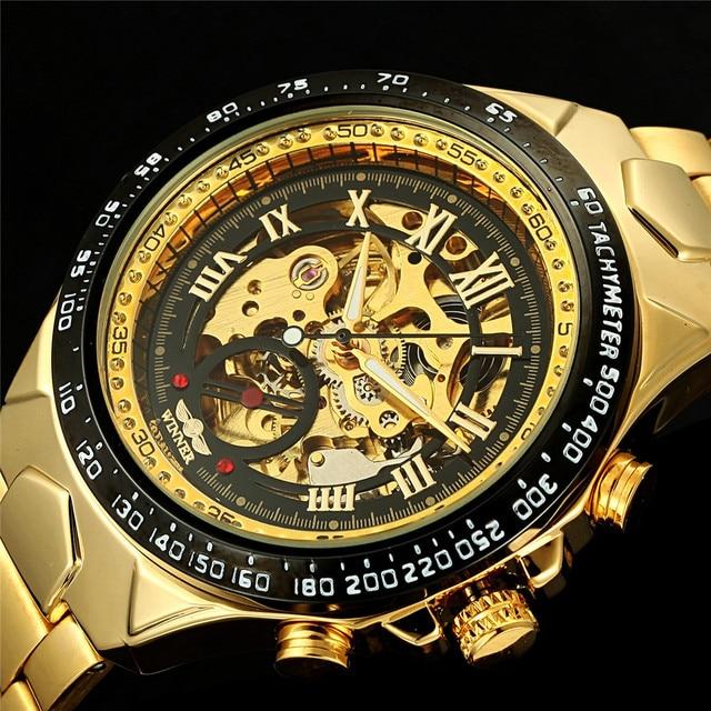 604811da283 Vencedor de Luxo Da Marca Elegante Relógio de Esqueleto Mecânico Automático  do relógio de Pulso Masculino