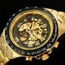 Gagnant Marque De Luxe Élégant Montre Automatique Squelette Mécanique Montre-Bracelet Mâle montre-Bracelet Hommes Homme Heure Horloge relogio masculino