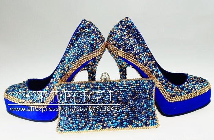 Royal Blue Wedding Heels: Luxury New Women Genuine Leather Glitter Gold Royal Blue