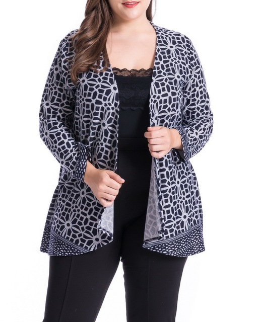 a96b7d89ef1 Chicwe Women s Cashmere Touch Plus Size Floral Print Casual Cardigan Jacket  Large Size Big Size1X-